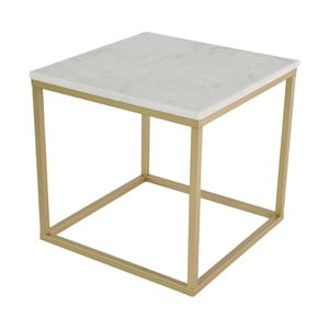 Mramorový konferenčný stolík s konštrukciou vo farbe mosadze RGE Accent, 55 x 55 cm