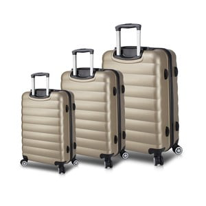 Sada 3 cestovných kufrov na kolieskach s USB porty v zlatej farbe My Valice RESSO Travel Set