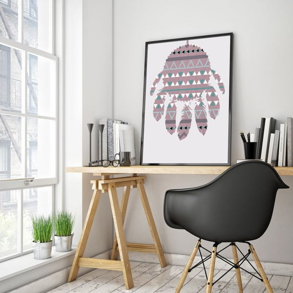Plagát v drevenom ráme Violet Dreamcatcher, 38x28 cm