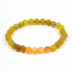Žltozelený náramok z prírodných minerálov s achátom Yogaly Vitality