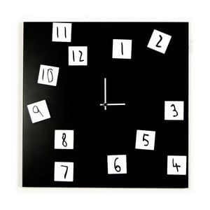 Nástenné hodiny dESIGNoBJECT.it Changing Clock Black, 50 x 50 cm