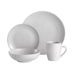 16-dielny biely kameninový jedálenský servis Ladelle Speckle