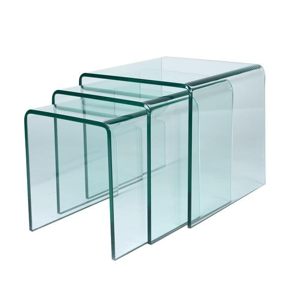 Sada 3 sklenených stolíkov Glass Coffee