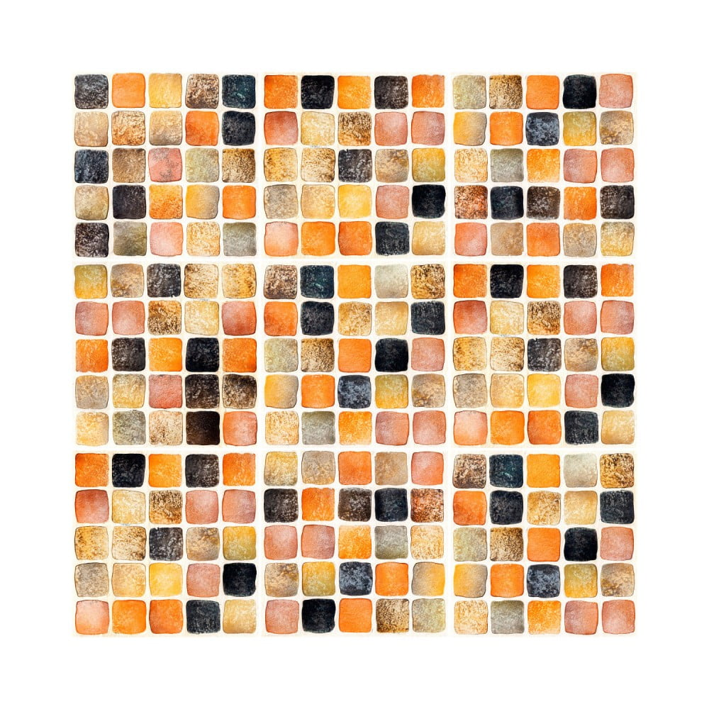 Sada 9 nástenných samolepiek Ambiance Wall Decal Tiles Mosaics Sanded Grade, 10 × 10 cm