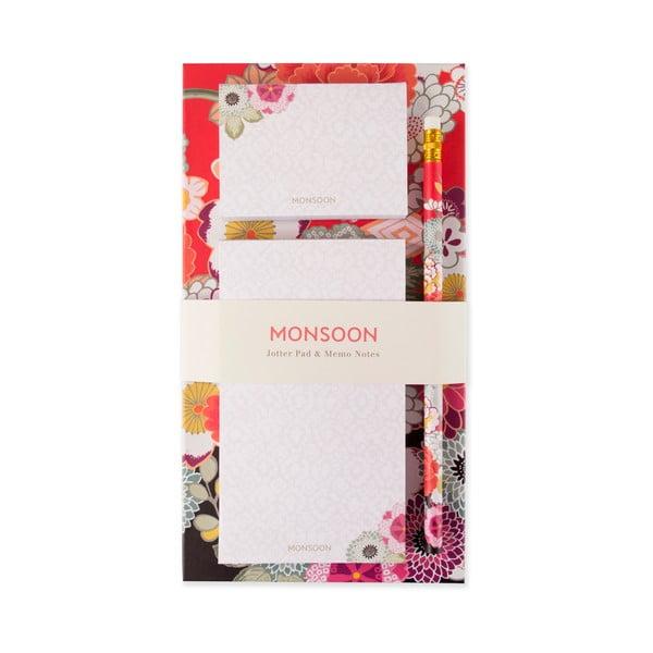 Linajkovaný magnetický zápisník s lepiacimi papierikmi a perom Portico Designs Monsoon
