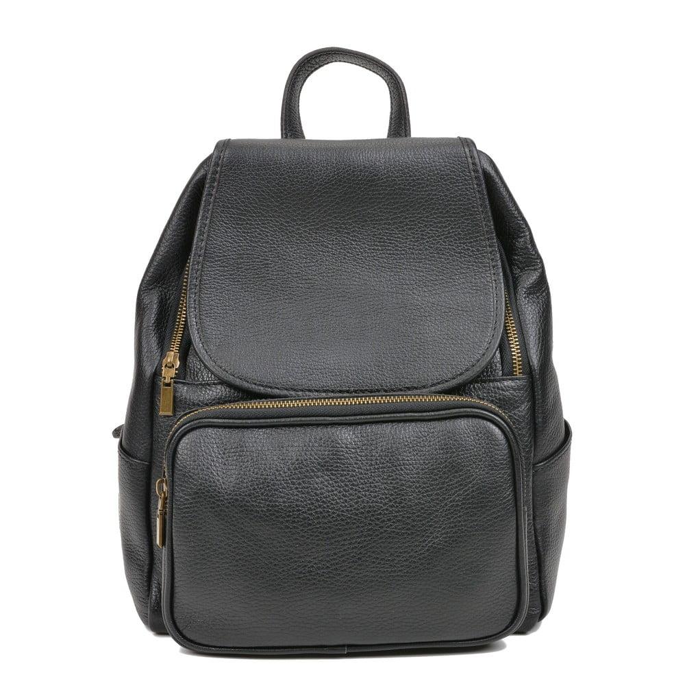 Čierny kožený batoh Luisa Vannini Sienna
