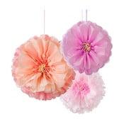 Papierové dekorácie Flower Pom Pom, 3 kusy