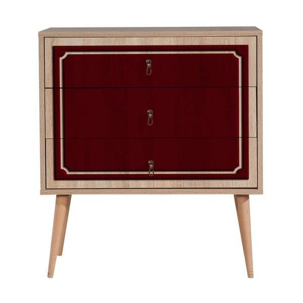 Komoda s 3 zásuvkami Trio Red Mood, 80×90 cm