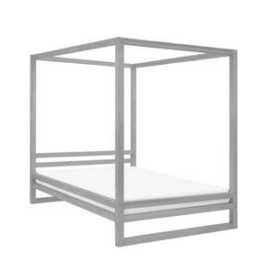 Sivá drevená dvojlôžková posteľ Benlemi Baldee, 200 × 160 cm