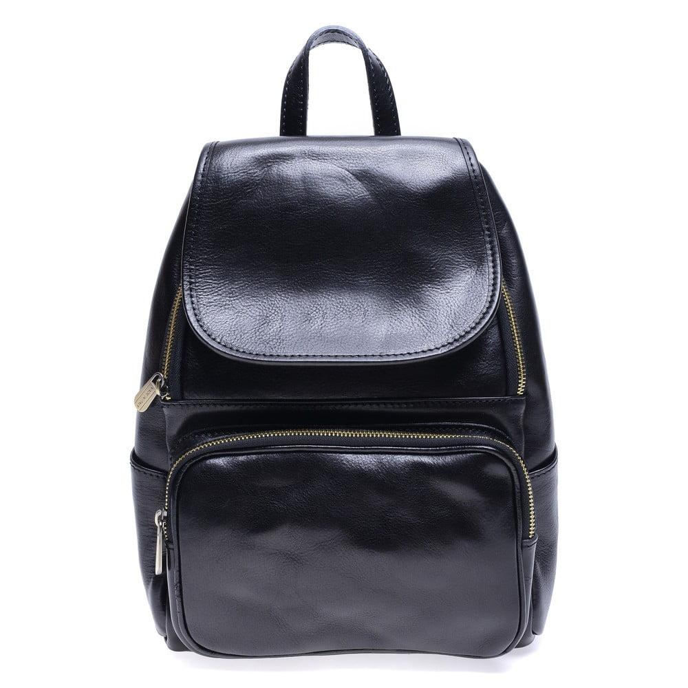 Čierny kožený batoh Roberta M Francesca