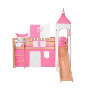 Ružovo-biely bavlnený hradný set na detské poschodové postele Mobi furniture Luk a Tom