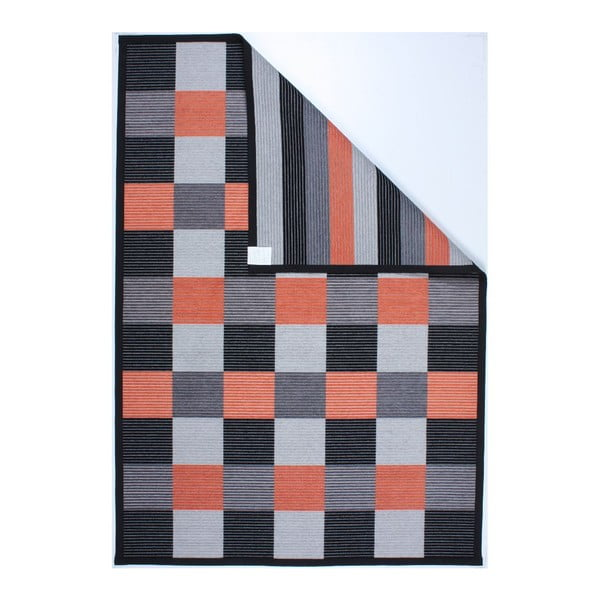 Koberec Square Black/Orange, 80x250 cm