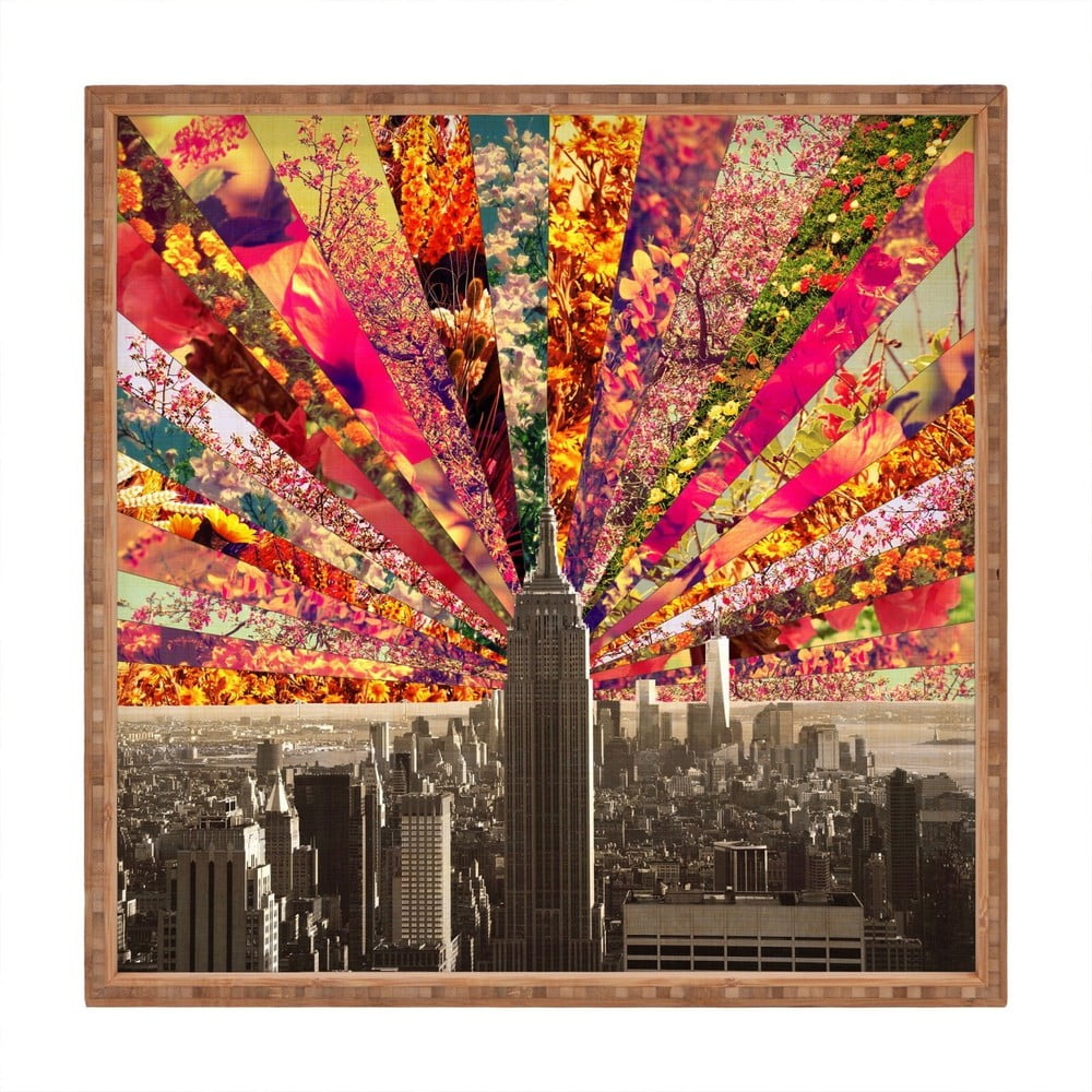 Drevený dekoratívny servírovací podnos Fun In The City, 40 × 40 cm