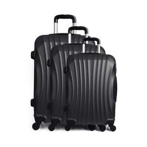Sada 3 čiernych cestovných kufrov na kolieskach Hero Anderson