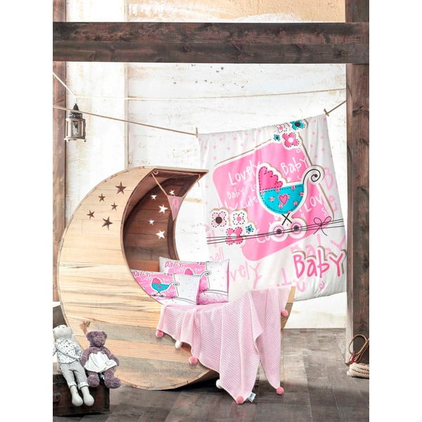 Set detských obliečok a plachty s pletenou dekou Lovely Baby, 100x150 cm