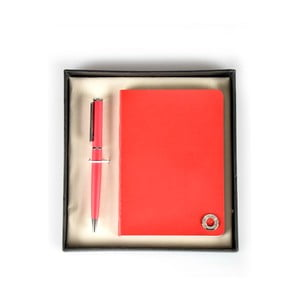 Set červeného pera a zápisníka Balmain v darčekovej krabičke