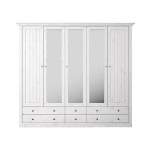 Biela šatníková skriňa z borovicového dreva s bielou doskou a zrkadlami Steens Monaco