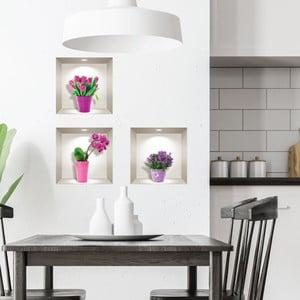 Sada 3 3D samolepiek na stenu Ambiance Tulips, Orchids and Lilacs