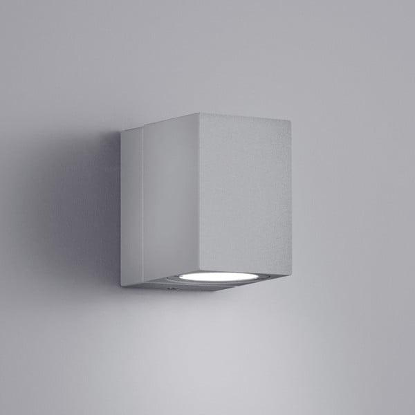 Svetlosivé vonkajšie nástenné svetlo Trio Tiber, výška 10 cm