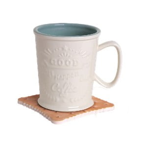 Hrnček na latté s podnosom v tvare sušienky Silly Design Coffe Bar Forrest, 370 ml