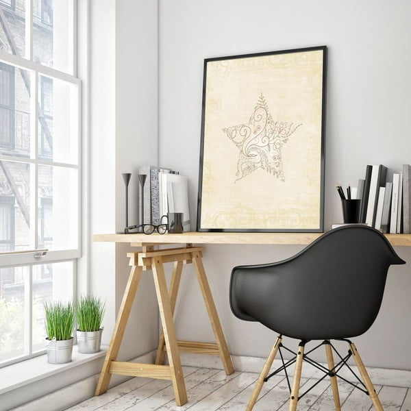 Plagát v drevenom ráme Light star, 38x28 cm
