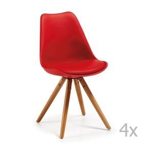 Sada 4 červených jedálenských stoličiek s drevenou podnožou La Forma Lars