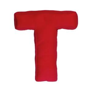 Látkový vankúš T, červený