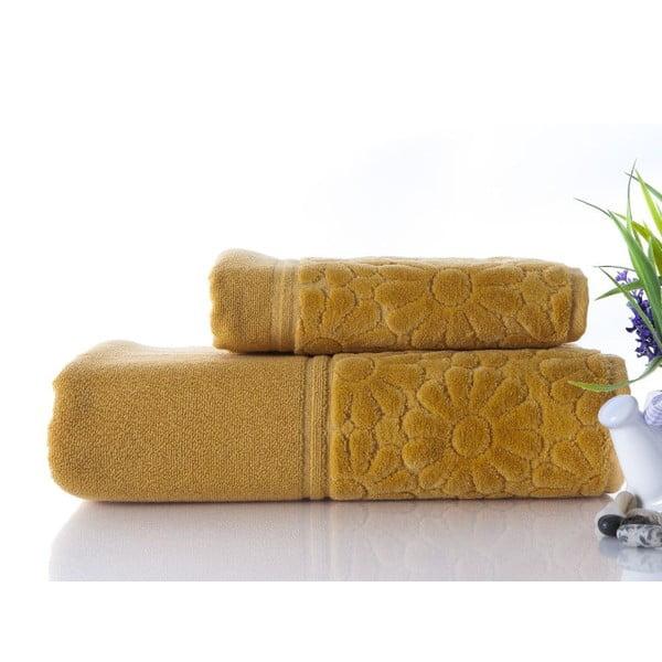 Set uteráka a osušky Samba Mustard, 50x90 cm a 70x140 cm