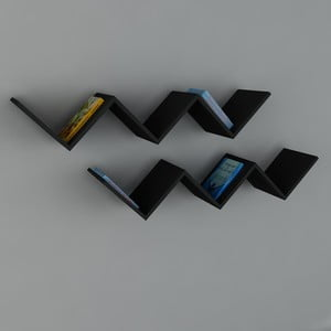 Polica Zig Zag Black, 22x129x50 cm