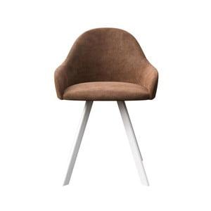 Hnedá jedálenská stolička s bielymi nohami MESONICA Brook