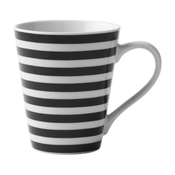 Čierno-biely porcelánový hrnček KJ Collection Striped