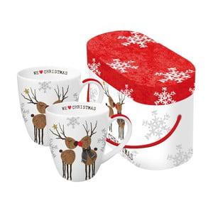 Sada 2 porcelánových hrnčekov s vianočným motívom v darčekovom balení PPD We Love Christmas, 350 ml