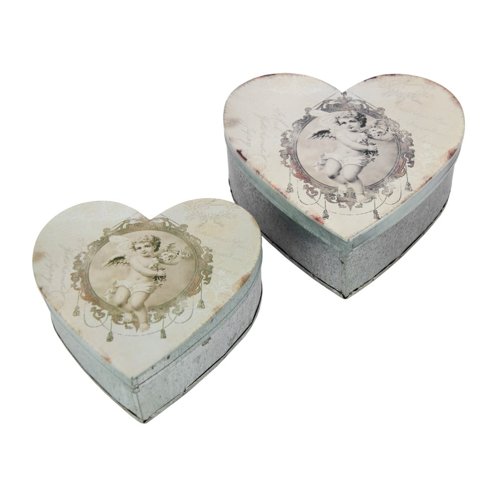 Sada 2 kovových dóz Antic Line Heart Box