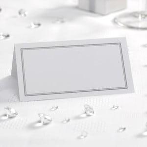 Sada 50 bielo-strieborných menoviek na stôl Neviti Simply Love