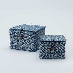 Sada 2 modrých úložných košíkov z rákosia Compactor Lidwhite