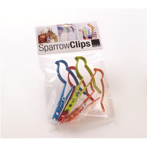 Sada 4 kancelárskych sponiek  Design Ideas Sparrow Clips