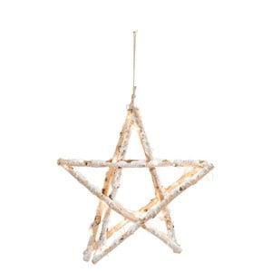 Závesná svietiaca ozdoba hviezda J-Line Birch, šírka 5 cm