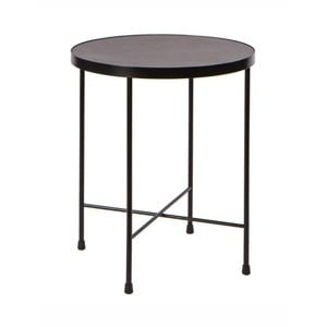Čierny kovový odkladací stolík Nørdifra Marble, ⌀ 43 cm