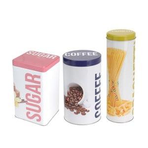 Sada 3 kovových dóz Sugar, Coffee, Spaghetti