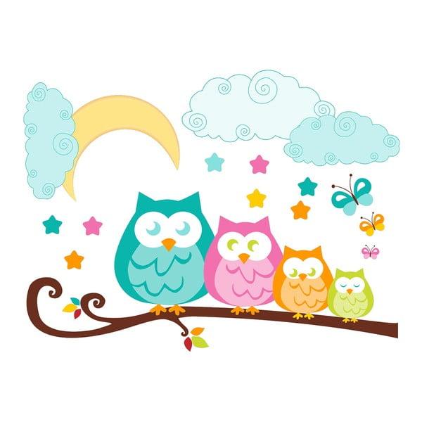 Nástenná detská samolepka Ambiance Owls in family