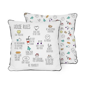 Vankúš Pillow House Rules, 45 x 45 cm