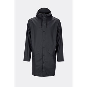 Čierna unisex bunda s vysokou vodoodolnosťou Rains Long Jacket, veľkosť XXS/S