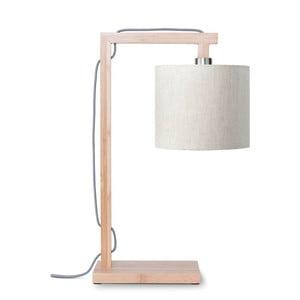 Stolová lampa so svetlobéžovým tienidlom a konštrukciou z bambusu Good&Mojo Himalaya