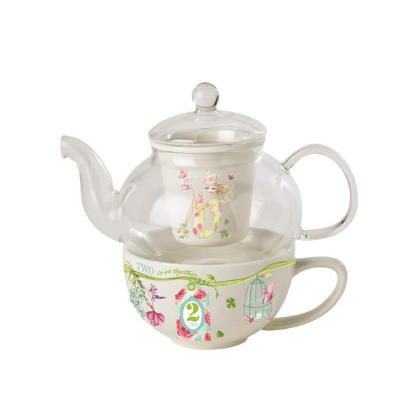 Sada kanvičky, hrnčeka a sitka Tea for one