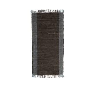 Čierny kožený koberec Simla, 140 × 70 cm