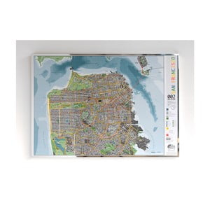 Magnetická mapa San Francisca The Future Mapping Company Street Map, 100×70cm