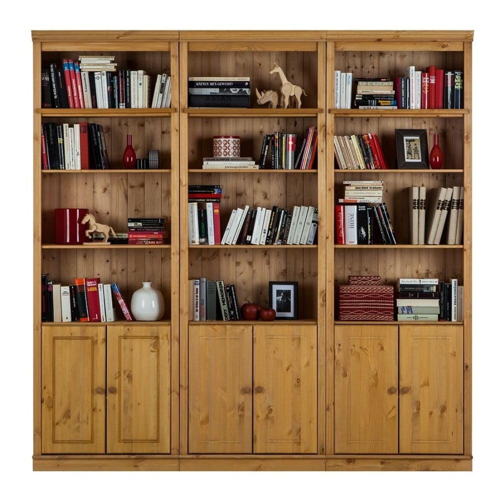Hnedá knižnica z borovicového masívu Støraa Annabelle, šírka219cm
