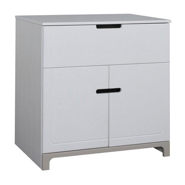 Bielo-sivá dvojdverová komoda Pinio Mini