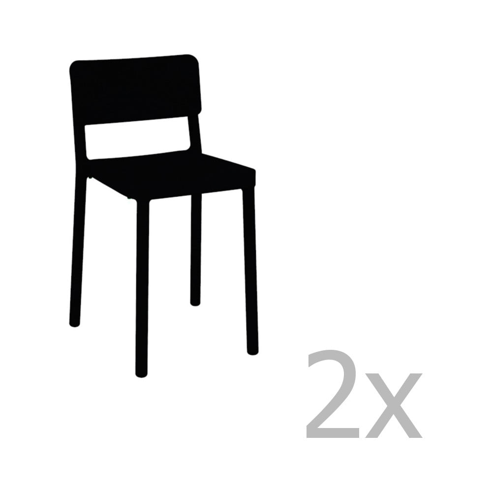 Sada 2 čiernych barových stoličiek vhodných do exteriéru Resol Lisboa, výška 72,9 cm