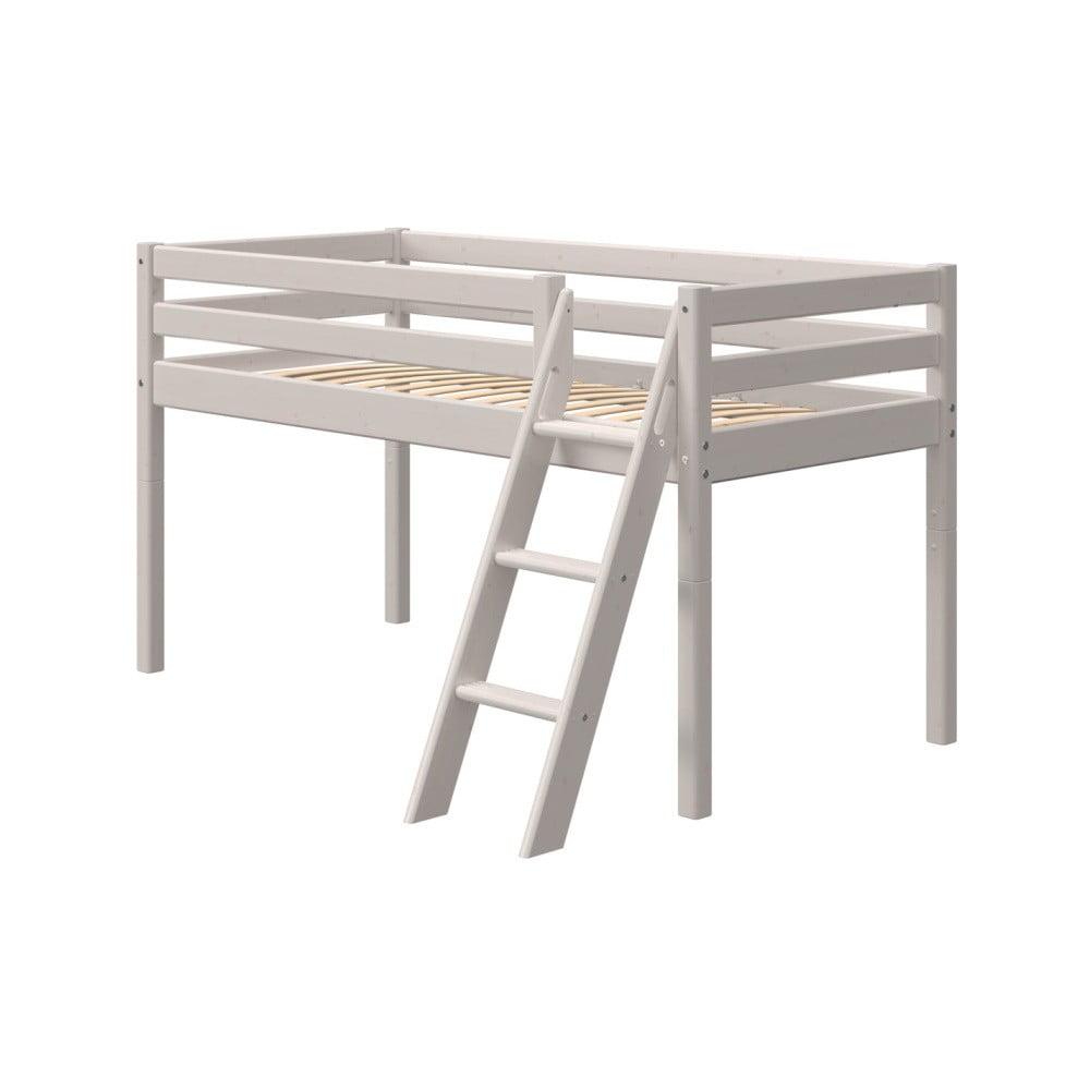Sivá detská posteľ z borovicového dreva s rebríkom Flexa Classic, výška 120 cm